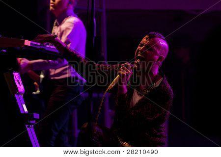 CLARK, NJ - SEPT 17: Lead singer Tyler Glenn of the band Neon Trees performs at the Union County Music Fest on September 17, 2011 in Clark, NJ.