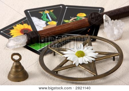 Wiccan Objects And Tarot Cards