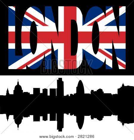 London Skyline And Flag Text