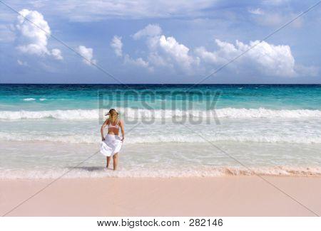 Blonde Girl In Surf