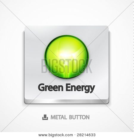 Metal button with green concept. Eps10 icon