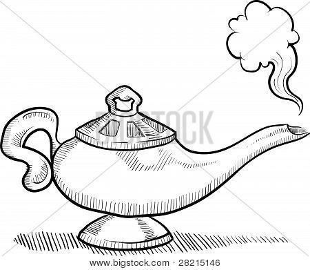 Genie lamp sketch