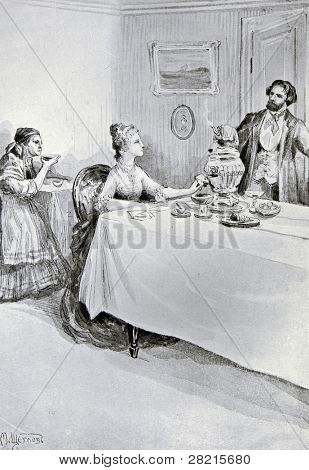 Lunch in the noble house -  illustration by M. Shcheglov,