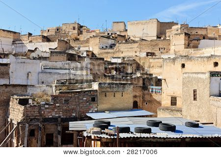 Rooftop scene in Fez, Morocco