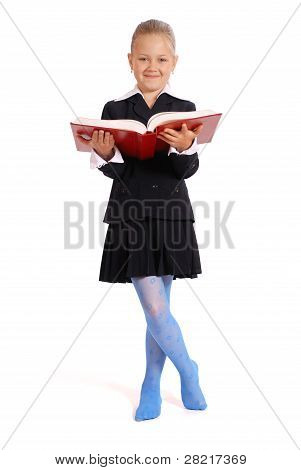 Girl Holds The Open Book