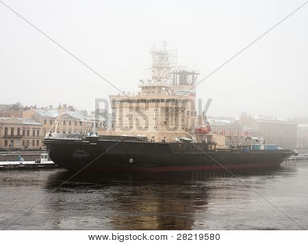 The image of icebreaker at its moorings
