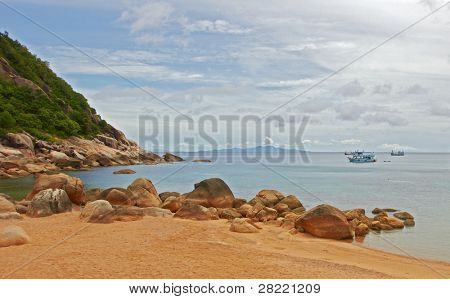 Typical tropical island landscape - Sea and sand beach. 2011 November - Thailand - Koh Tao - Pacific Ocean