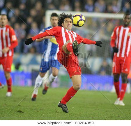 BARCELONA - DEC 20: Spanish player Jose Ortiz of Almeria in action during a Spanish League match against RCD Espanyol at the Estadi Cornella-El Prat on December 20, 2009 in Barcelona, Spain