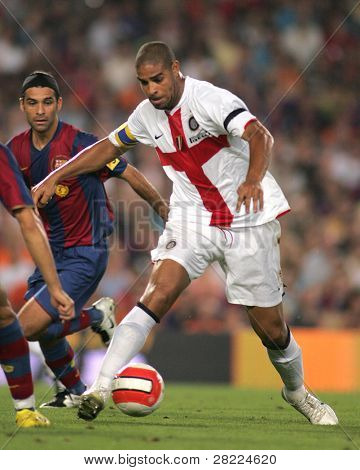 BARCELONA - AUG 29: Brazilian footballer Adriano Leite during a friendly match between FC Barcelona and Inter de Milano at the Nou Camp Stadium on August 29, 2007 in Barcelona, Spain.