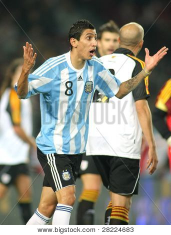 BARCELONA, SPAIN - DEC. 22: Argentinian player Di Maria in action during the friendly match between Catalonia vs Argentina at Camp Nou Stadium Dec. 22, 2009 in Barcelona.