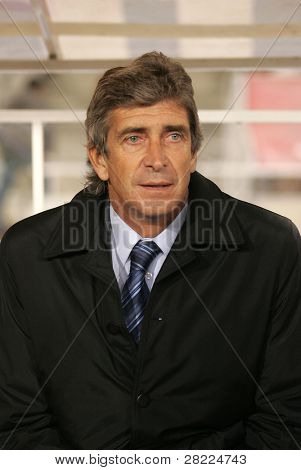 BARCELONA - JAN 5: Manuel Pellegrini coach of Villareal during a Spanish League match between Espanyol and Villareal at the Olympic Stadium on January 5, 2008 in Barcelona, Spain