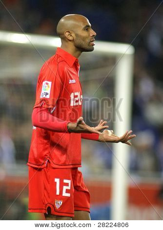 BARCELONA - MARCH 20: Frederic Kanoute of Sevilla during a Spanish League match between Espanyol and Sevilla at the Estadi Cornella on March 20, 2010 in Barcelona, Spain