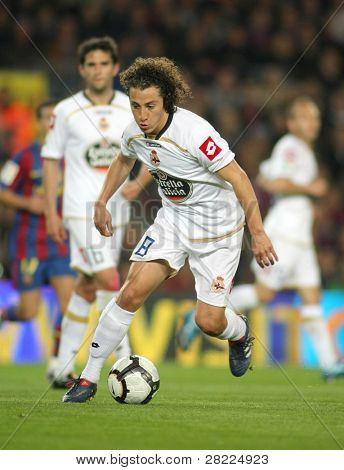 BARCELONA-APRIL 14: Andres Guardado of Real Club Deportivo in action during a Spanish League match between FC Barcelona and Deportivo at the Nou Camp Stadium on April 14, 2010 in Barcelona, Spain