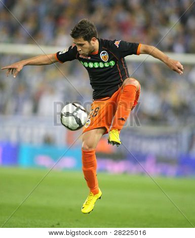 BARCELONA, SPAIN - MAY 1: Jordi Alba of Valencia CF in action during a Spanish League match between RCD Espanyol and Valencia at the Estadi Cornella on May 1, 2010 in Barcelona, Spain