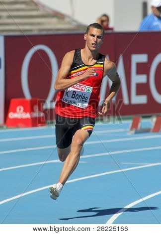 BARCELONA, SPAIN - JULY 27: Kevin Borlee of Belgium competes in the Men 400m during the 20th European Athletics Championships at the Olympic Stadium on July 27, 2010 in Barcelona, Spain.