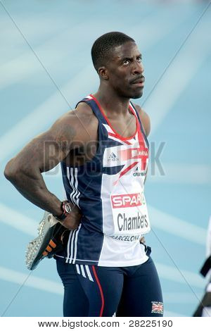 BARCELONA, SPAIN - JULY 27: Dwain Chambers of Great Britain later the Men 100m during the 20th European Athletics Championships at the Olympic Stadium on July 27, 2010 in Barcelona, Spain.
