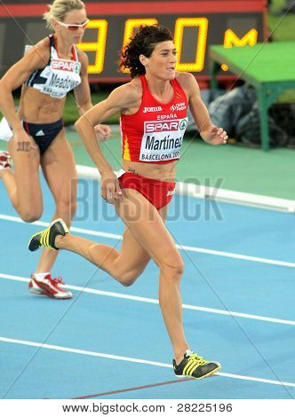 BARCELONA, SPAIN - JULY 27: Mayte Martinez of Spain compete in the Women 800m during the 20th European Athletics Championships at the Olympic Stadium on July 27, 2010 in Barcelona, Spain.