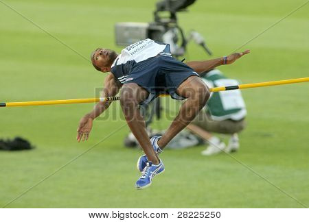 BARCELONA, SPAIN - JULY 27: Martyn Bernard of Great Britain competes on the Men High Jump during the 20th European Athletics Championships at the Olympic Stadium on July 27, 2010 in Barcelona, Spain