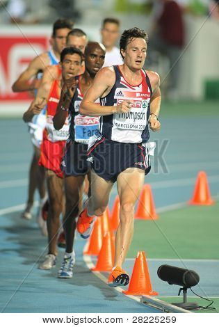 BARCELONA, SPAIN - JULY 27: Chris  Thompson of Great Britain during the Men 10000m final during the 20th European Athletics Championships at the Olympic Stadium on July 27, 2010 in Barcelona, Spain