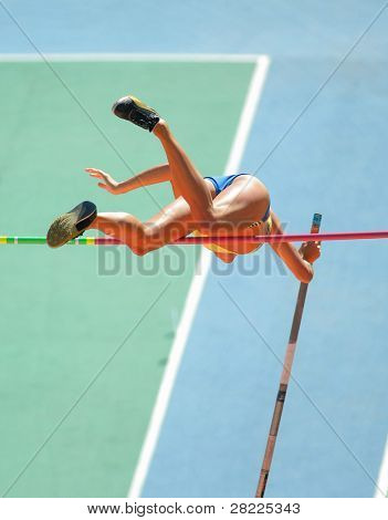 An athlete attempts successful a pole vault