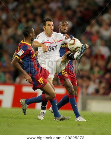 BARCELONA - AUGUST 21: Alvaro Negredo of Sevilla during Supercup match between Barcelona vs Sevilla at the New Camp Stadium in Barcelona on August 21, 2010