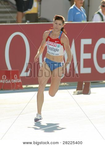 BARCELONA, SPAIN - JULY 28: Antonina Krivoshapka of Russia competes on the Women 400m during the 20th European Athletics Championships at the Olympic Stadium on July 28, 2010 in Barcelona, Spain.