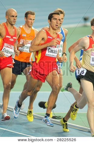 BARCELONA, SPAIN - JULY 28: Arturo Casado of Spain during the Men 1500m event during the 20th European Athletics Championships at the Olympic Stadium on July 28, 2010 in Barcelona, Spain