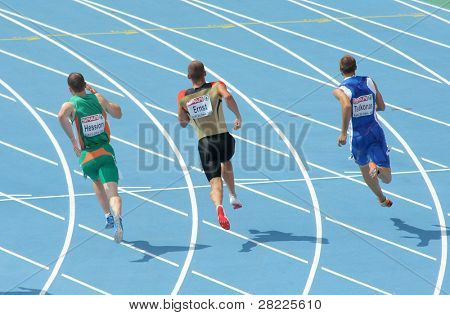 BARCELONA, SPAIN - JULY 29: Competitors of 200m Men of the 20th European Athletics Championships at the Stadium on July 29, 2010 in Barcelona, Spain
