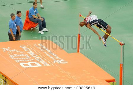 BARCELONA, SPAIN - JULY 29: Martyn Bernard of Great Britain competes on the Men High Jump during the 20th European Athletics Championships at the Stadium on July 29, 2010 in Barcelona, Spain