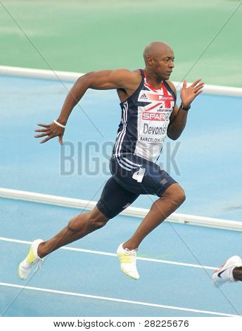 BARCELONA, SPAIN - JULY 29: Marlon Devonish of Great Britain competes on the Men 200m during the 20th European Athletics Championships at the Stadium on July 29, 2010 in Barcelona, Spain