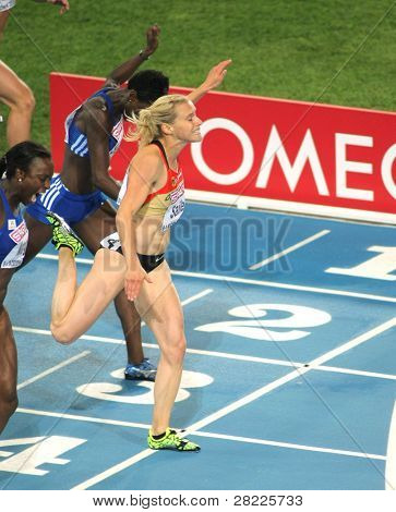 BARCELONA, SPAIN - JULY 29: Verena Sailer of Germany competes on the Women 100m during the 20th European Athletics Championships at the Olympic Stadium on July 29, 2010 in Barcelona, Spain