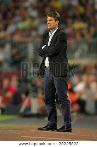 BARCELONA - OCT 3: Michael Laudrup Coach of Mallorca during Spanish league match between FC Barcelona and RCD Mallorca at Nou Camp Stadium in Barcelona, Spain. October 3, 2010