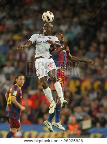 BARCELONA - OCTOBER 3: Pierre Webo of Mallorca in action during Spanish league match between FC Barcelona and RCD Mallorca at Nou Camp Stadium in Barcelona, Spain. October 3, 2010