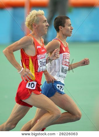 BARCELONA, SPAIN - AUGUST 01: Blanco(L) of Spain and Minshin(R) of Russia on 3000m steeplechase Final of the 20th European Athletics at the Olympic Stadium on August 1, 2010 in Barcelona, Spain