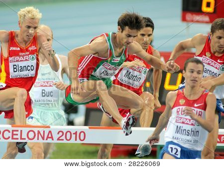 BARCELONA, SPAIN - AUGUST 01: Alberto Paulo of Portugal competes on 3000m steeplechase Final of the 20th European Athletics Championships at the Olympic Stadium on August 1, 2010 in Barcelona, Spain