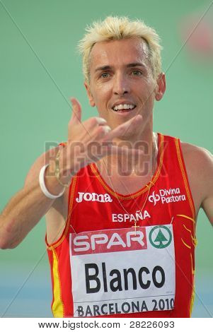 BARCELONA, SPAIN - AUGUST 01: Jose Luis Blanco of Spain celebrates bronze on 3000m steeplechase Final of the 20th European Athletics at the Olympic Stadium on August 1, 2010 in Barcelona, Spain