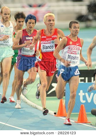 BARCELONA, SPAIN - AUGUST 01: Jose Luis Blanco of Spain during 3000m steeplechase Final of the 20th European Athletics Championships at the Olympic Stadium on August 1, 2010 in Barcelona, Spain