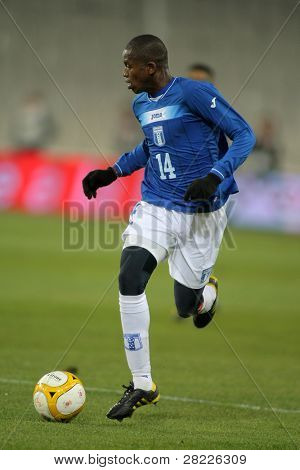 BARCELONA - DEC 28: Honduran player Oscar Boniek Garcia in action during the friendly match between Catalonia vs Honduras at Olympic Stadium in Barcelona, Spain. Dec. 28, 2010