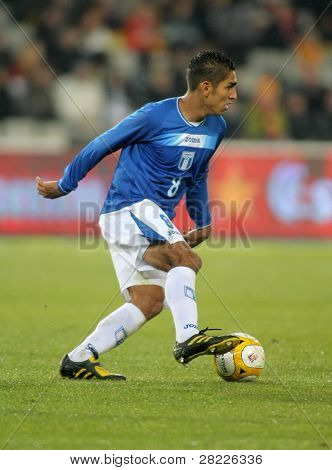 BARCELONA - DEC 28: Honduran player Jorge Claros in action during the friendly match between Catalonia vs Honduras at Olympic Stadium on Dec. 28, 2010 in Barcelona, Spain