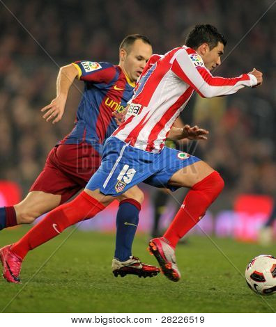 BARCELONA - FEB 5: Jose Antonio Reyes of Atletico Madrid during the match between FC Barcelona and Atletico Madrid at the Nou Camp Stadium on February 5, 2011 in Barcelona, Spain