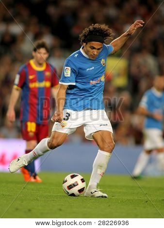BARCELONA - APRIL 19: Marcelo Silva of Almeria in action during the match between FC Barcelona and UD Almeria at the Nou Camp Stadium on April 9, 2011 in Barcelona, Spain