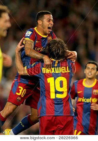 BARCELONA - APRIL 9: Thiago Alcantara of Barcelona celebrates goal  during the match between FC Barcelona and UD Almeria at the Nou Camp Stadium on April 9, 2011 in Barcelona, Spain