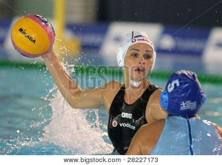 BARCELONA - MAY 15: Rita Dravucz of Hungary during the City of Barcelona Trophy waterpolo match between Hungary and Greece at the UE Horta pool on May 15, 2011 in Barcelona, Spain