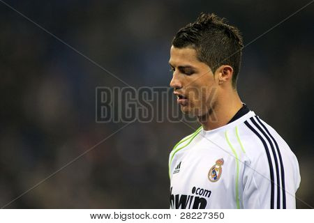 BARCELONA - FEB 13: Cristiano Ronaldo of Real Madrid during a spanish league match between Espanyol and Real Madrid at the Estadi Cornella on February 13, 2011 in Barcelona, Spain