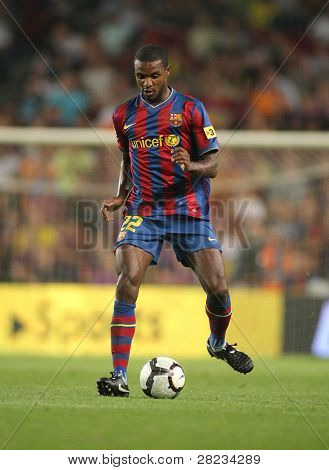 BARCELONA, SPAIN - AUG. 31: Futbol Club Barcelona player Eric Abidal during Spanish League match between Barcelona vs Sporting Gijon at the New Camp Stadium in Barcelona on August 31, 2009.