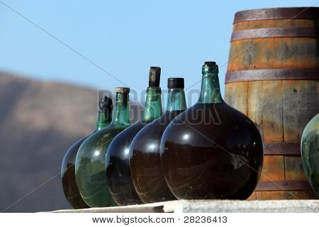 Wine Bottles In A Winery