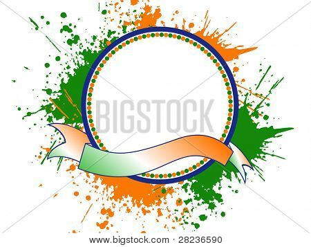 A template frame with copy space for text on Indian tri color grunge background for Independence and Republic Day.