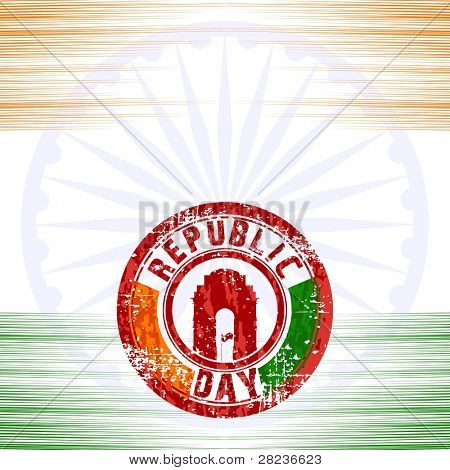 A vector illustration of rubber stamps in red color having India Gate on seamless background for Republic Day.