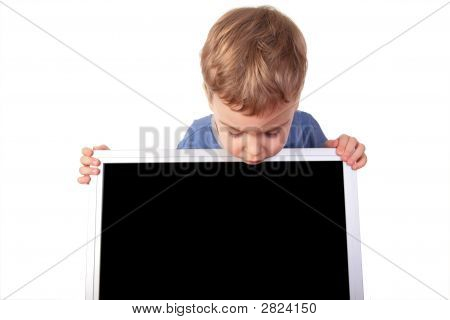 Little Girl Looks On Display