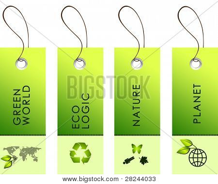 green labels with nature protection symbols on them